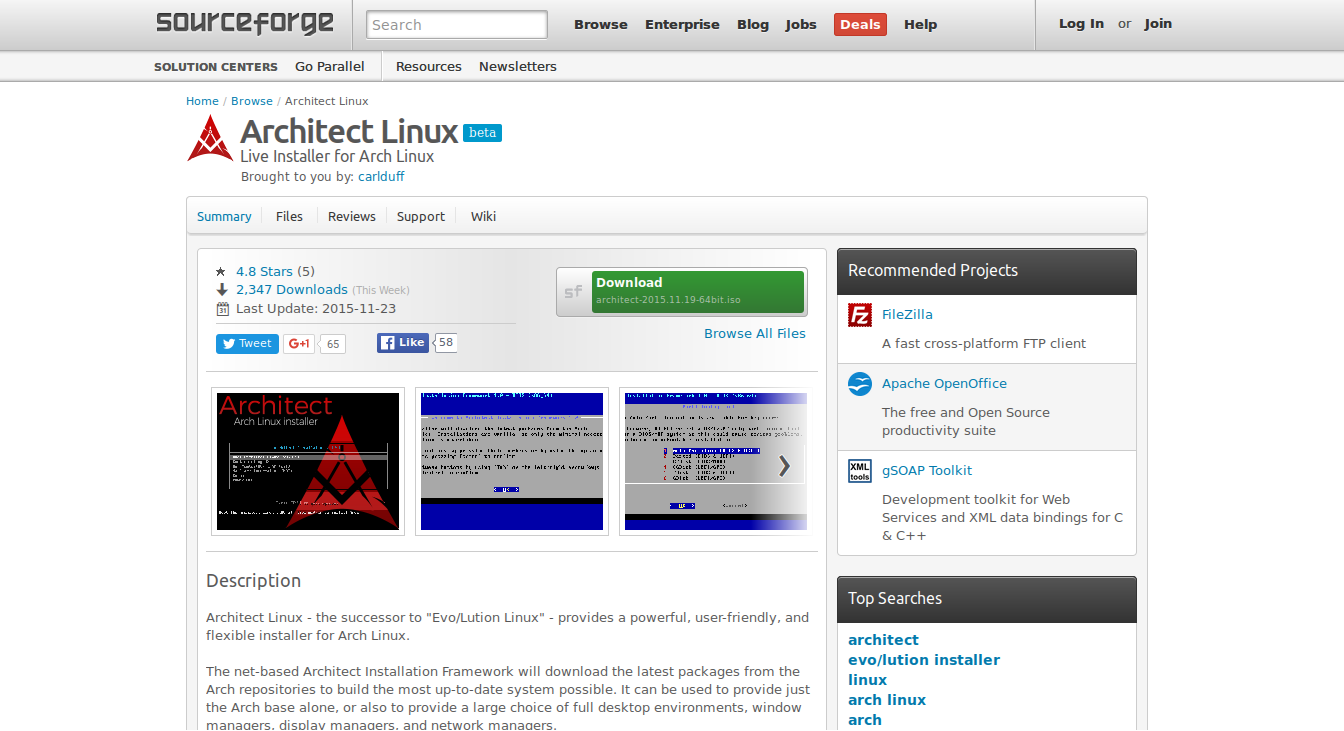 Architect sourceforge page